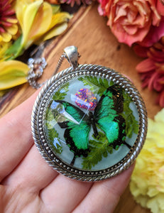 Green Butterfly Resin Necklace, Blue Opal Crystal Pendant 1