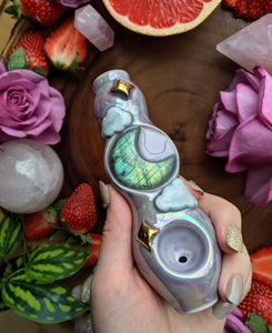 Labradorite Moon Deluxe Gold Stars, Purple Clouds Pipe Glow in the Dark Porcelain Pipe