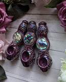 PRE-ORDER** Abalone Shell Premium Deep Plum Iridescent Pipe  Glow in the Dark Porcelain Smoking Pipe