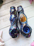 Tigers Eye Premium Blue Black Pipe Iridescent Glow in the Dark Porcelain Smoking Pipe