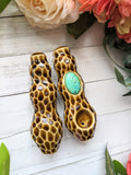 Chrysocolla Premium Honey Comb Pipe with Carved Details, Glow in the Dark Porcelain Smoking Pipe