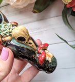 Bird Skull Deluxe Black Rainbow Pipe with Mushrooms Glow in the Dark Porcelain Smoking Pipe