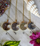 Druzy Moon Necklaces