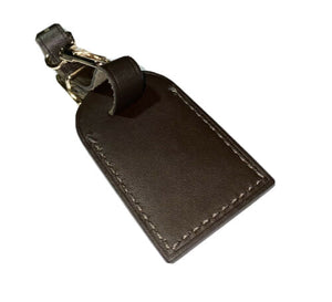 Louis Vuitton Small Name Tag w/ MY Initials Calfskin Leather Goldtone-Dark Brown