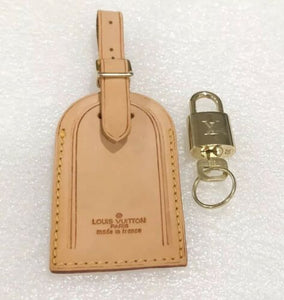 "Authentic Louis Vuitton Large Name Tag w/ Lock & Key + Ring Goldtone ""One Set"""