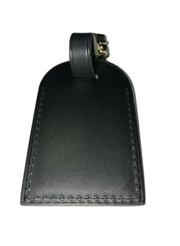 Louis Vuitton Leather Name Tag w/ MM Hot Stamped $300 Black Calfskin Silver