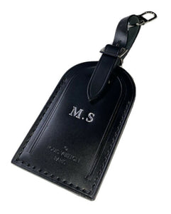 Louis Vuitton Name Tag - MS Stamped Initials Large Black Calfskin Leather -PARIS