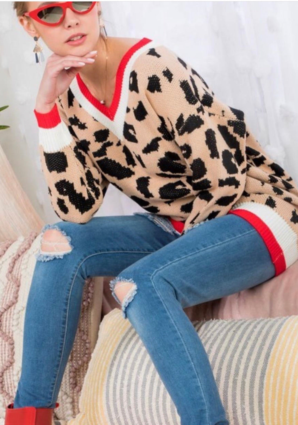 Red Cheetah Sweater