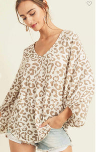Muted Cheetah Bubble Sleeve Top
