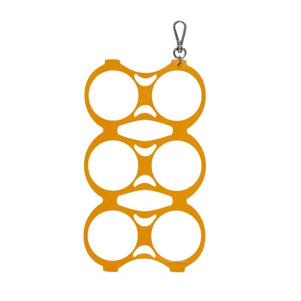 Yellow Leather Sixpack Keychain