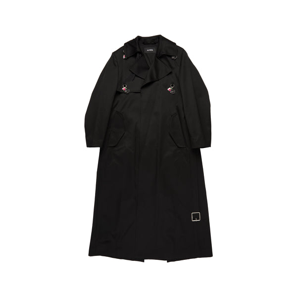 Black Long Trenchcoat With Rings