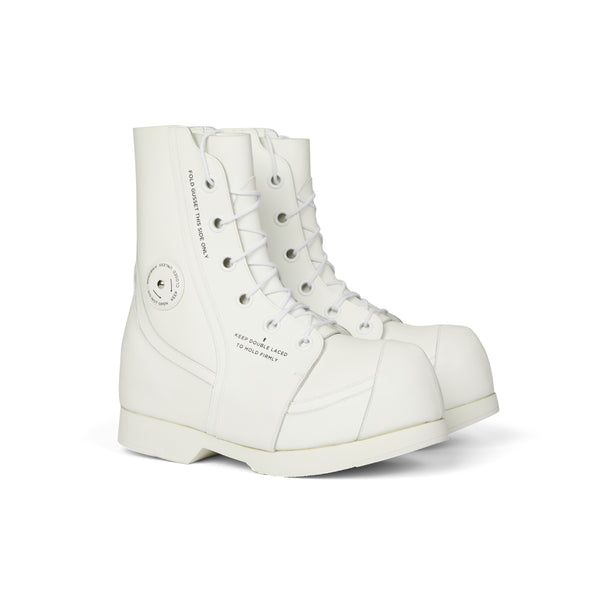 White Cowhide Big Fat Toe Boots