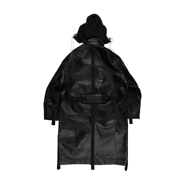 Black Crocodile Long Combat Parka