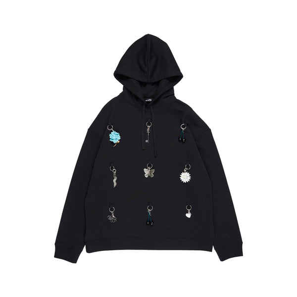 Black Hoodie With Rings And Charms