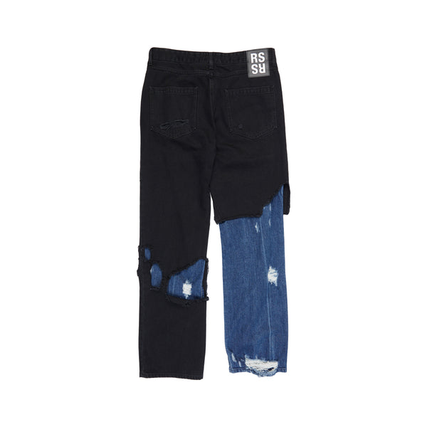 Black Blue Relaxed Fit Destroyed Denim Pants
