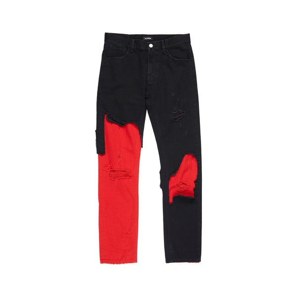Black Red Slim Fit Destroyed Denim Pants