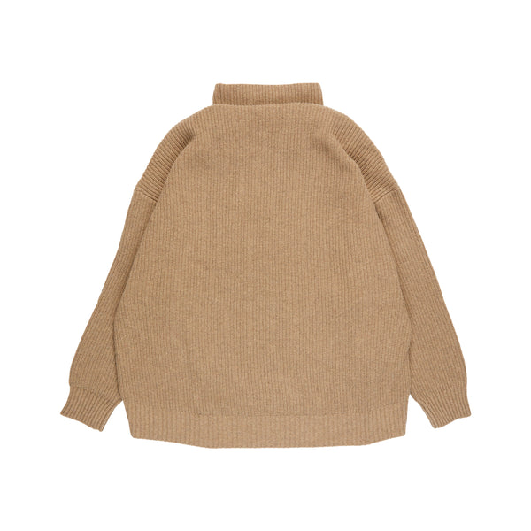 Beige Oversize Turtleneck Sweater