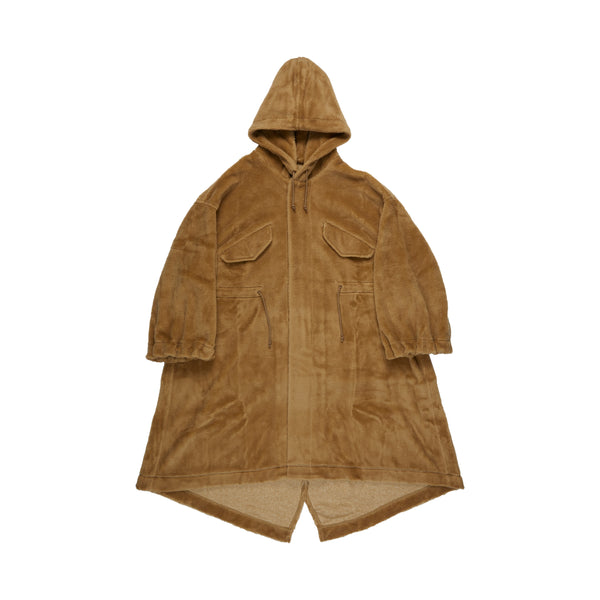 Beige Hooded Fleece Parka