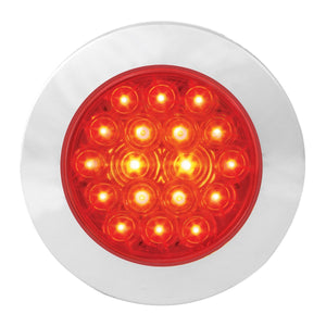 "4"" Fleet Flange Mount Led Light W Chrome Twist & Lock Bezel In Standard 3prong Red"