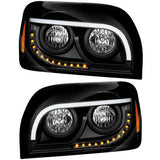 FREIGHTLINER CENTURY HALOGEN BLACK HEADLIGHT WITH WHITE LED DRL AND TURN SIGNAL BY GRAND GENERAL
