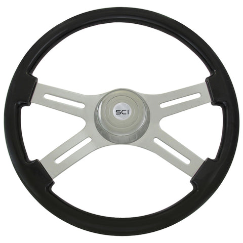 "18"" Classic Black 4 Spoke Steering Wheel"