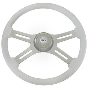"18"" Steering Creations White 4 Spoke Steering Wheel"