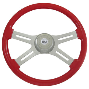 "18"" Steering Creations Onyx Viper Red 4 Spoke Steering Wheel"