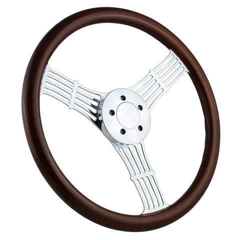 "18"" Dark Wood 5 Hole Steering Wheel"