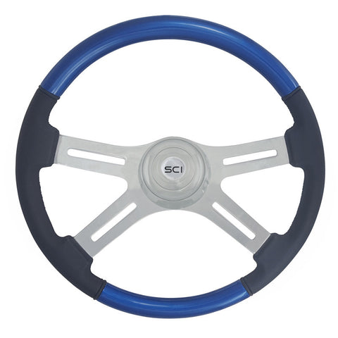 "18"" CLASSIC COMBO BLUE WOOD & LEATHER 4 CHROME SPOKE STEERING WHEEL"