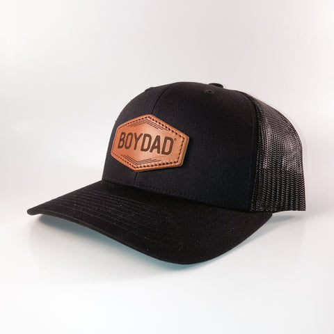 Boydad® Leather Patch Trucker Hat, Black/Black