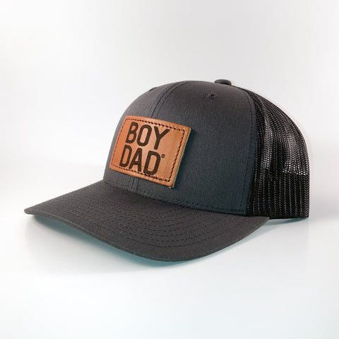 Boydad® Leather Patch Trucker Hat, Charcoal/Black