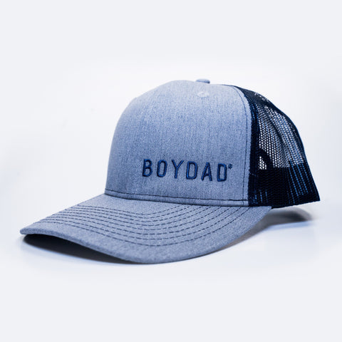 Boydad® Embroidered Trucker Hat Grey & Navy