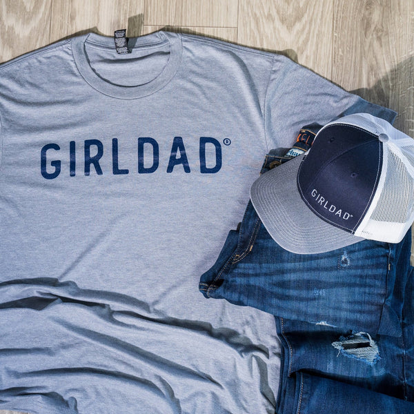 Girldad® Embroidered Trucker Hat Navy, Grey & White
