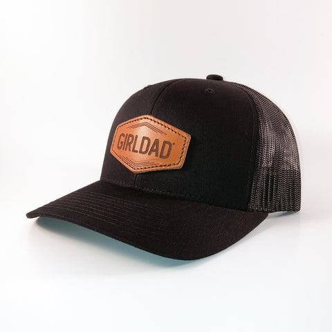 Girldad® Leather Patch Trucker Hat Black