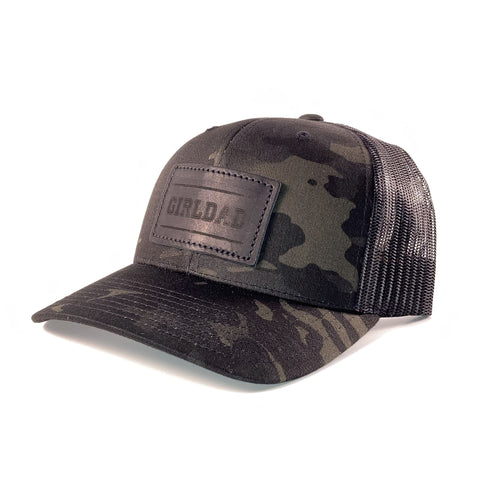 Girldad® Leather Patch Trucker Hat Black Camo