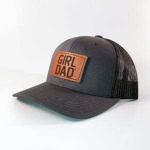 Girldad® Leather Patch Trucker Hat Charcoal & Black