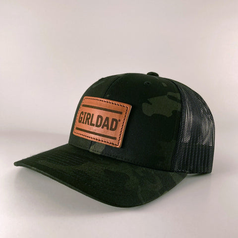 Girldad® Leather Patch Trucker Hat, Camo/Teak Leather