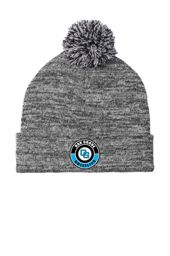 Oak Grove Pom Pom Beanie with Custom Rubber OG Patch
