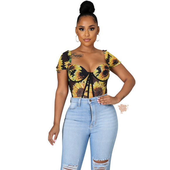 Sunflower Corset Top