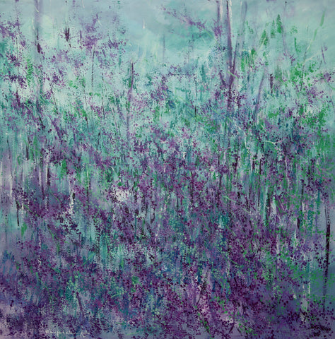Abstract Landscape, Acrylic on Canvas, Lavender