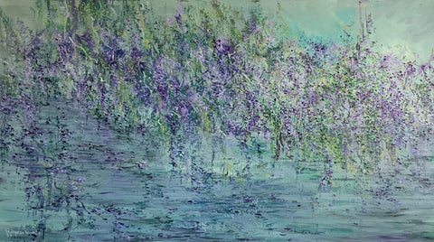 Abstract Acrylic Painting, Pond, Artist in Toronto, Nature