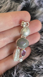 Labradorite + Pearl + Amethyst | Purple Flash | Pendant