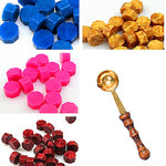 WYSE 30pcs Octagon Sealing Wax set Brass Spoon Seal Stamp Beaded Waxes