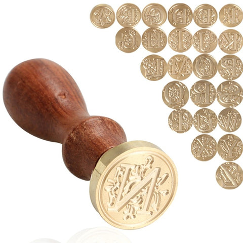 Retro Wood Stamp Head 26 Letter A-Z Alphabet Sealing Wax Seal Replace Copper head Seal Post Decorative
