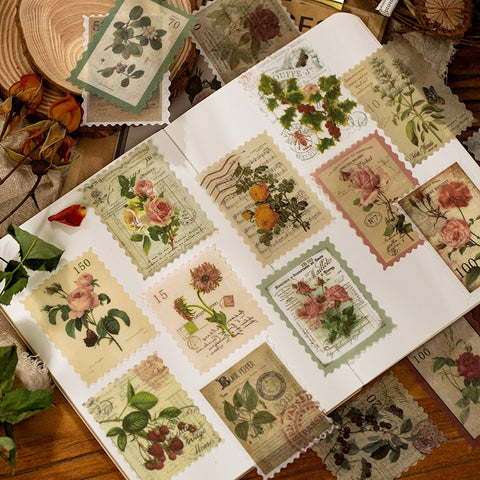 Retro Time Post Office Series Decorative Stickers Scrapbooking Stick Label Diary Stationery Album Vintage stamp flower Stickers