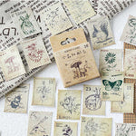 46 PCs/Box Small Forest Post Office Stamp Animal Plant Vintage Sticker Scrapbooking