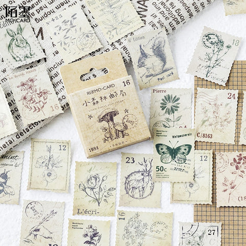 46 PCs/Pack Vintage Small Forest Post Office Paper Stamp sticker card decoration notebook and envelope