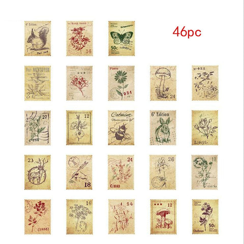 46 Pieces/Box Small Forest Post Office Mini Decorative Sticker DIY Diary Scrap Stamp