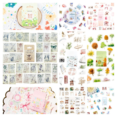 46Pcs Diary sticker DIY Vintage stamps plant animals series Sticker Seal label