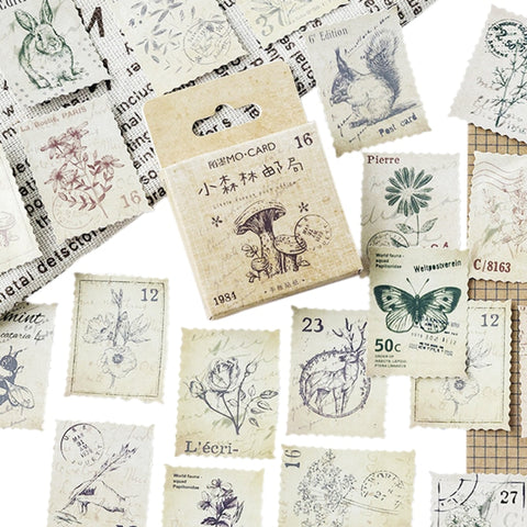 46Pcs/LOT forest Diary DIY retro stamps plant animals series Sticker Sealing label